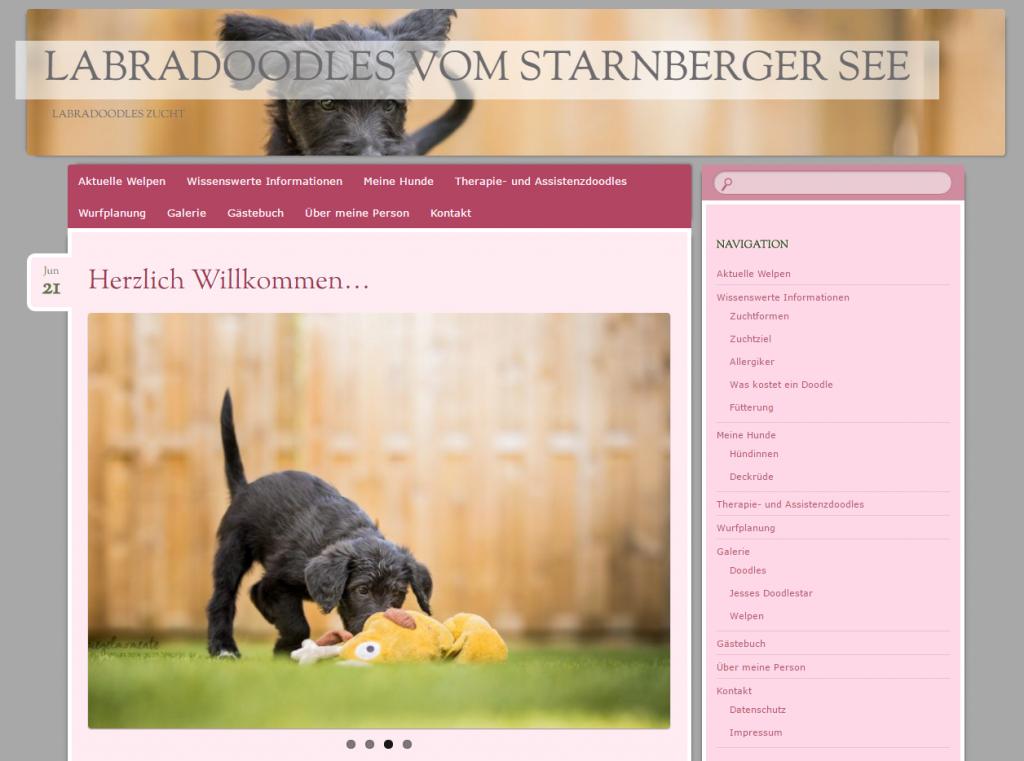 Erster Auszug aus unseren Referenzen: Website einer Labradoodles Züchterin aus Starnberg.
